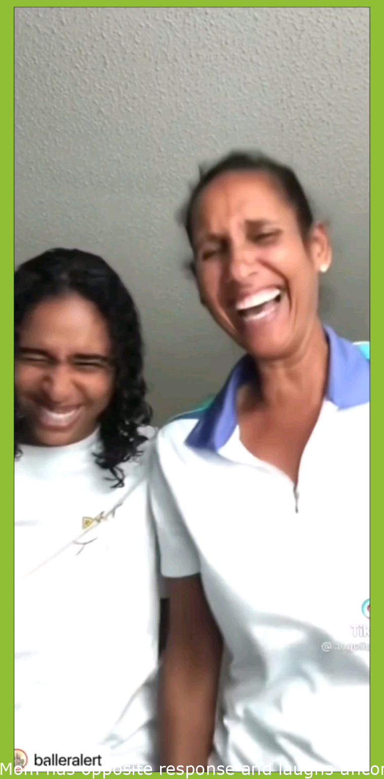 Mom has opposite reaction and laughs uncontrollably when teen daughter does the scholarship prank