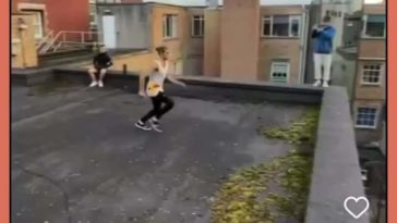 Absolutely massive leap, followed by a tiny hop