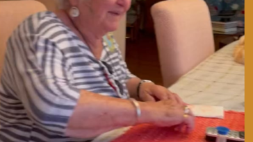 Playing headbanz in assisted-living facility